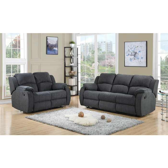 Miami Charcoal Grey Fabric Sofa 3 2, Fabric Living Room Sets With Recliner
