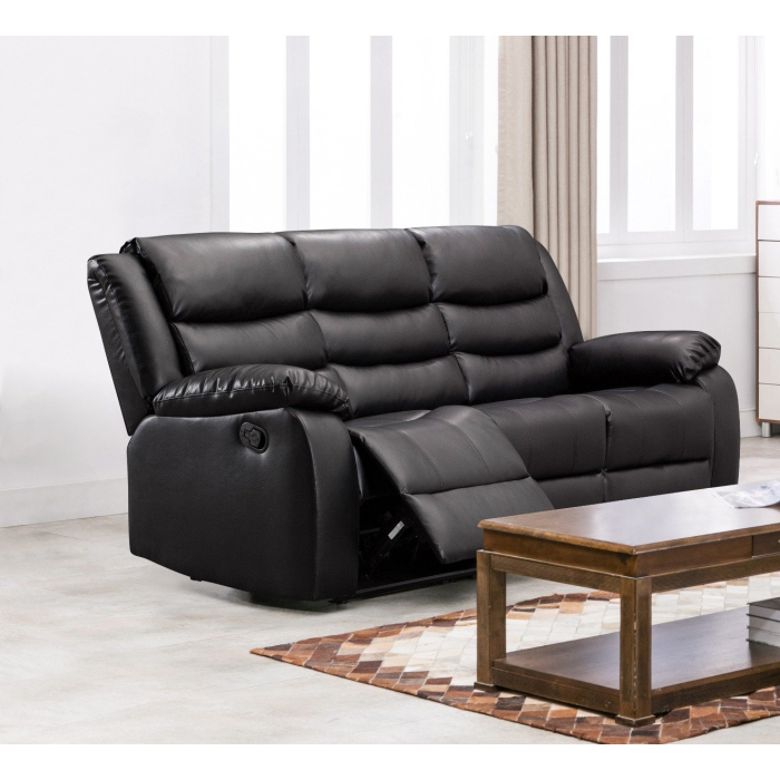 Chicago Leather Sofa Black Electric, Electric Leather Sofa