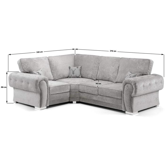 Nevada Silver Grey Fabric Corner Sofa, Corner Sofa With High Back