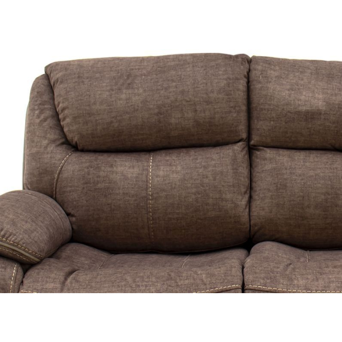Santiago Brown Fabric 2 Seater Recliner, Brown Fabric Recliner Sofa 3 2