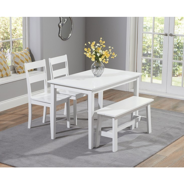 Chichester White Dining Table With 2, White Dining Room Table Bench