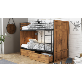 Janessa Bunk Bed In Vintage Oak With Black Frame And 2 Drawers