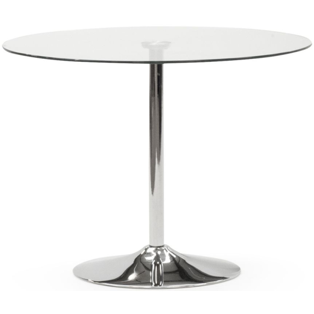 Orbit 90cm Glass And Stainless Steel Chrome Round Dining Table