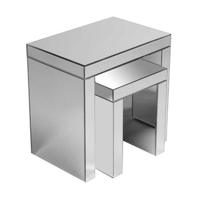 Milano Modern Mirrored Set Of 2 Nest, Modern Mirrored Furniture
