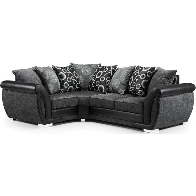 Sheila Grey Fabric Black Leather Left Hand Corner Sofa