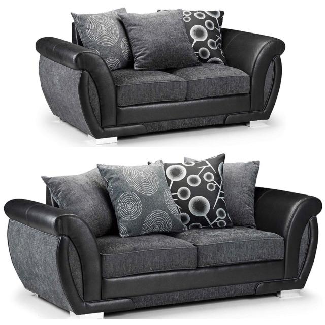 Sheila Grey Fabric Black Leather 3 2 Seater Sofa Set