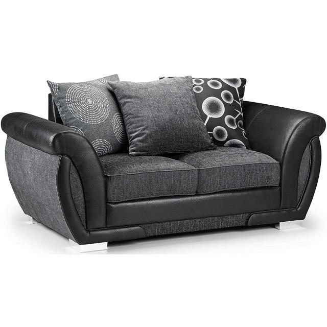 Sheila Grey Fabric Black Leather 2 Seater Sofa