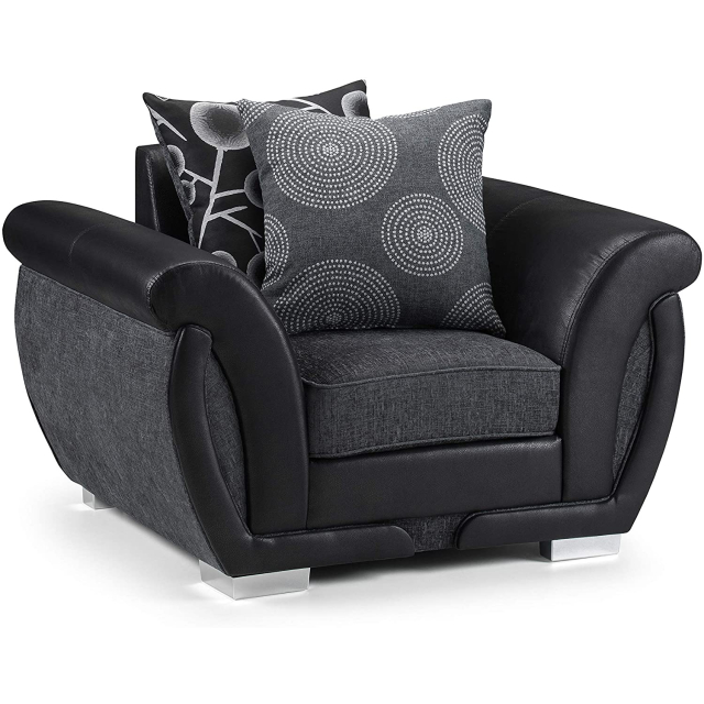 Sheila Grey Fabric Black Leather 1 Seater Sofa