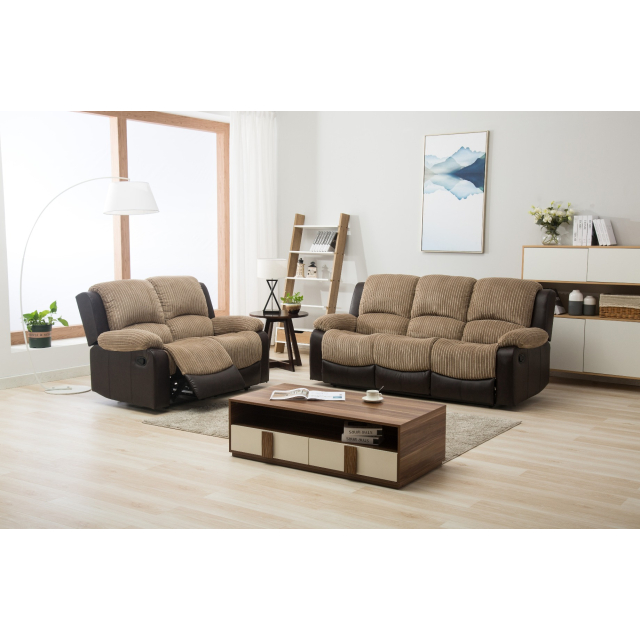 Bradley Beige Brown Fabric Leather, Brown Fabric Recliner Sofa Set