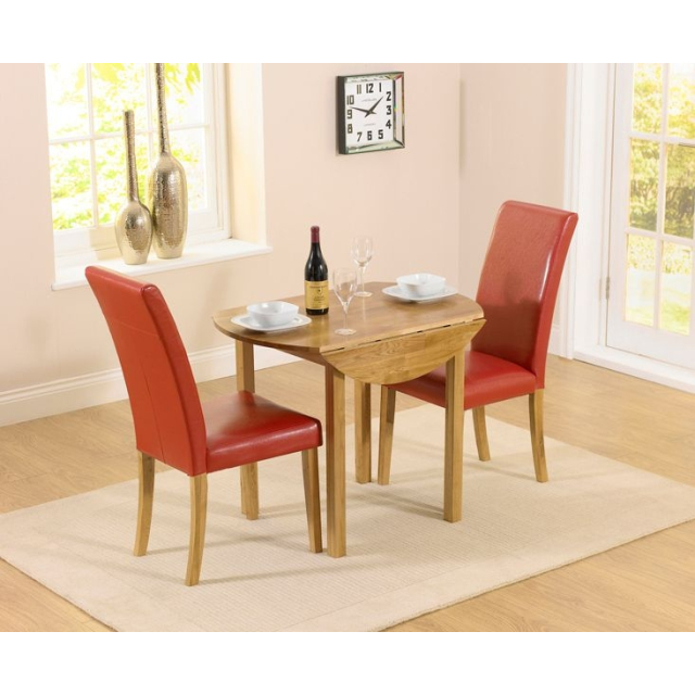 Promo Oak Round Drop Leaf Extending Dining Table And 2 Atlanta Red Faux Leather Chairs