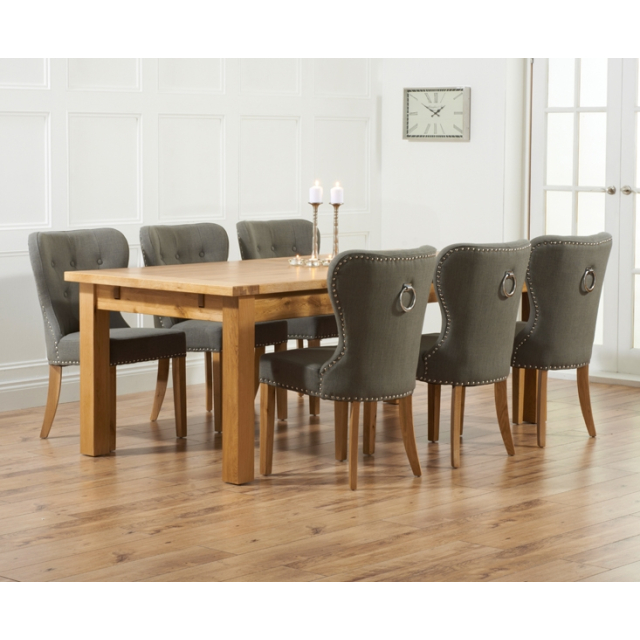 Rustique Oak Extra Large Extending Dining Table And 6 Kalim Grey Chairs