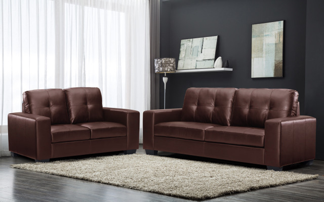 Oregon Brown Leather Modern 3+2 Sofa Set