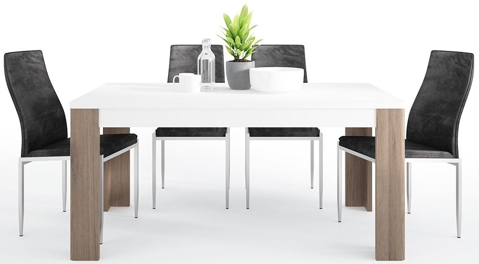 Tamar Dining Table and 6 Milan Black Chairs Sanremo Oak and High Gloss White