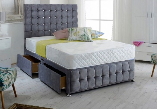 Venice Velvet Divan Bed with Floor Standing Headboard