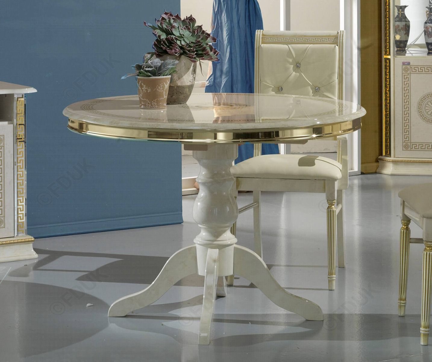 Venus Beige And Gold Italian Round Extension Dining Table